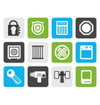 Flat Security and Business icons vector image