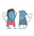 funny monkey couple hand drawn animal cartoon vector image