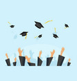 graduating students or pupil hands in gown vector image