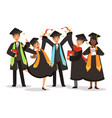graduation happy international students vector image