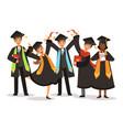graduation happy international students vector image vector image