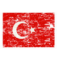 grunge styled flag of turkey vector image vector image