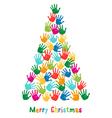 Hand print Christmas tree vector image vector image