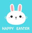 happy easter bunny rabbit round face icon cartoon vector image