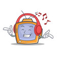 listening music tv character cartoon object vector image vector image