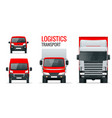 logistics transport front view truck trailer vector image vector image