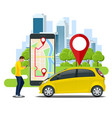man holding a smartphone renting a car online with vector image