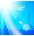 Oil rig silhouettes and blue sky vector image vector image