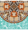 ornamental floral template with circle ethnic dish