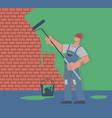 painter colors wall repair in apartment man vector image