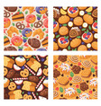 pastry seamless pattern baked cake cream cupcake vector image vector image