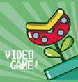 plant on pipe videogame vector image