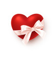 realistic red heart with white silk ribbon bow vector image