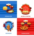 Russian Food 4 Flat Icons Square vector image