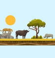 savannah animals in africa landscape with vector image vector image