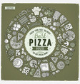 Set of dpizza cartoon doodle objects symbols and