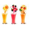 set of fruit juice splash in a glass strawberry vector image