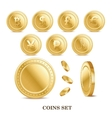 set of the currency golden isolated finance coin vector image