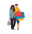 shopping people cartoon women at retail stores vector image