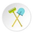 shovel and rake icon circle vector image vector image