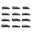 Silhouette different types of cars icons vector image vector image