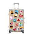 silver travel bag plastic case with stickers vector image vector image