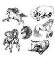 sketches of six horses vector image