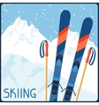 Skiing equipment on background of mountain winter vector image vector image
