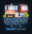 smart house control technology system with vector image