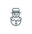 snowman happy christmas line icon vector image vector image
