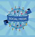 social media world concept with people online vector image vector image