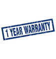 square grunge blue 1 year warranty stamp vector image vector image
