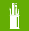 stationery in cup icon green vector image vector image