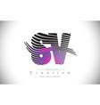 sv s v zebra texture letter logo design vector image vector image