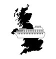 united kingdom map container ship shipping vector image
