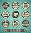 Vintage Gone Fishing Labels vector image vector image