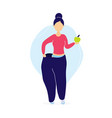 woman in oversized pants with apple vector image vector image