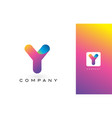 y logo letter with rainbow vibrant beautiful vector image vector image