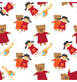 doll bear and toy helicopter seamless pattern vector image