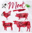 Set meat silhouettes vector image