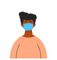 a black man wearing medical mask isolated vector image vector image