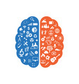 abstract human brain with the icons of art and vector image vector image