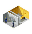 bank gold vault isometric composition vector image