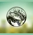 bass fishing emblem on blur background vector image vector image