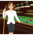 beautiful business woman holding cue stick vector image vector image