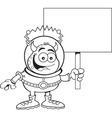 Cartoon alien holding a sign vector image vector image
