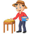 cartoon farmer holding a basket eggs vector image vector image