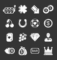 casino icons set grey vector image
