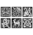 Celtic style animals on black background vector image vector image