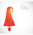 christmas greeting card with coral red christmas vector image